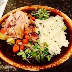 Chicken, cauliflower mash, cooked carrots and sprouts